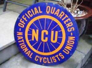 Enamel NCU sign